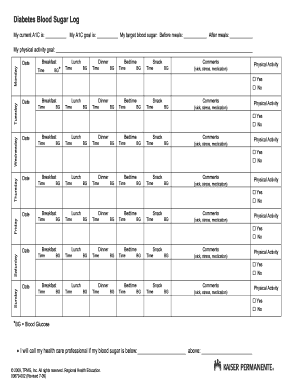 printable gluecose log form diabetes