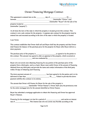 Owner Financing Contract  Home Sales Agreement Template