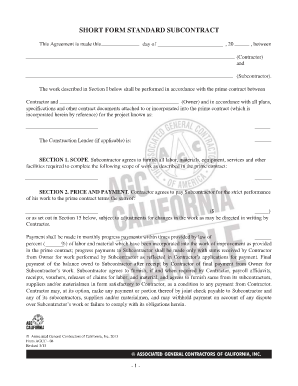 standard subcontract agreement template - short form standard subcontract forms and templates