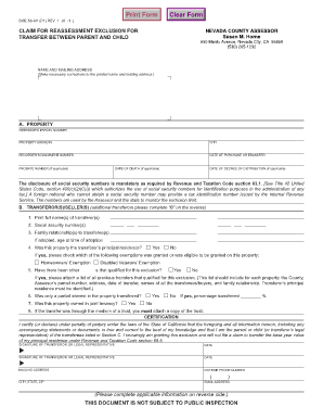 Claim For Reassessment Exclusion For Transfer Between Parent And ...