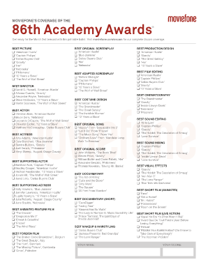 photo relating to Oscar Ballots Printable referred to as Moviefone Printable Oscar Ballot - Fill On the web, Printable