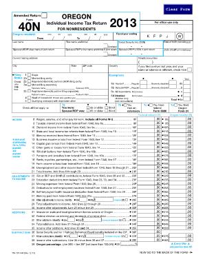 Fillable Online oregon 2013 Form 40N, Oregon Individual Income Tax ...