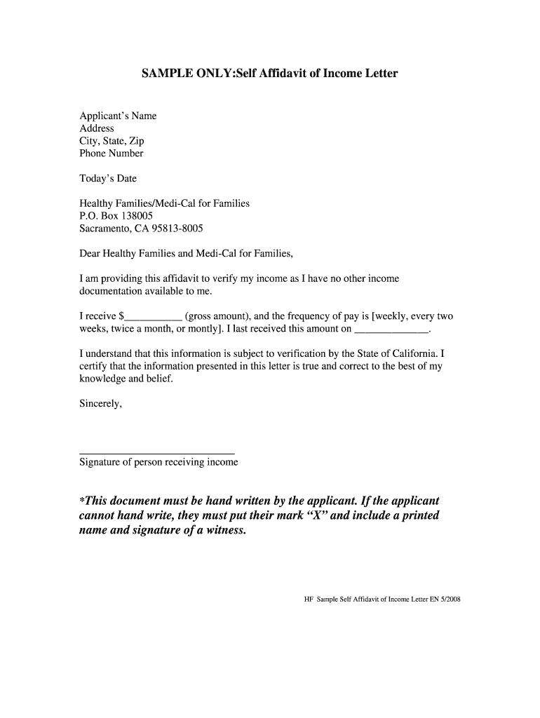 Income Affidavit - Fill Online, Printable, Fillable, Blank | PDFfiller