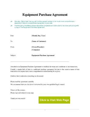 Equipment Purchase Agreement Sample