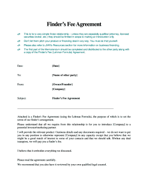 Finder Fee Agreement Sample - Fill Online, Printable, Fillable ...