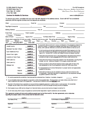 Dj contract forms and templates fillable printable for Mobile dj contract template