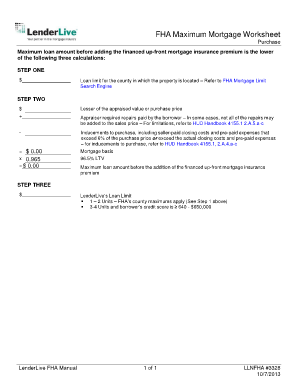 fha max loan amount worksheet purchase form