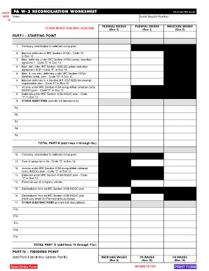 pa 40 w2 reconciliation worksheet fill online printable fillable blank pdffiller. Black Bedroom Furniture Sets. Home Design Ideas