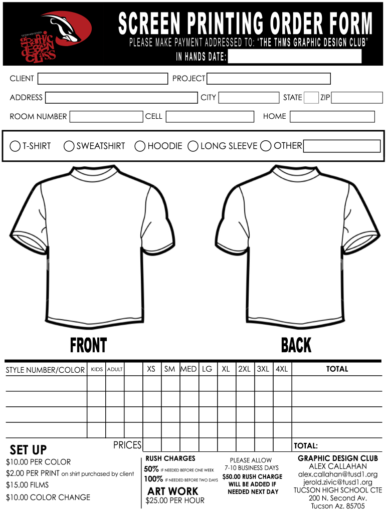 T Shirt Price List Template Fill Online Printable Fillable Blank Pdffiller