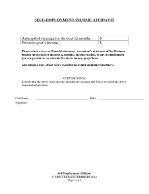 affidavit of self employment income form