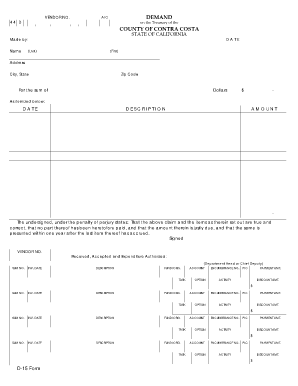 Fillable Online cchealth Copy of D15 Form - Blank.xls. California ...