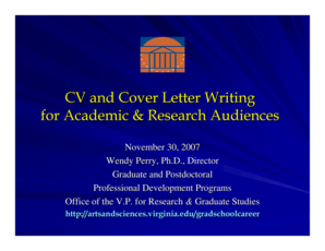CV and Cover Letter Writing for Academic & Research Audiences