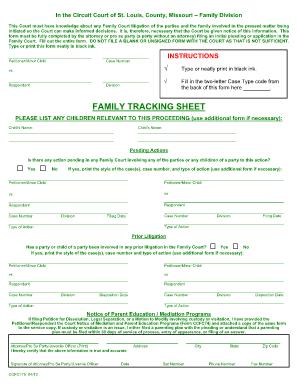 missouri family tracking sheet fill online, printable