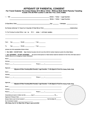 travel affidavit form sample of travel consent letter for child