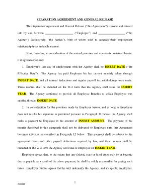 separation agreement template forms fillable printable samples for pdf word pdffiller. Black Bedroom Furniture Sets. Home Design Ideas