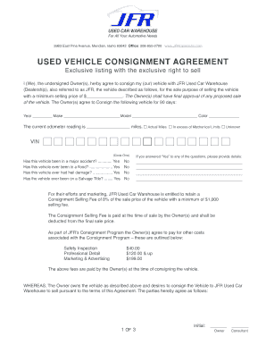 Vehicle Consignment Form - Fill Online, Printable, Fillable, Blank ...