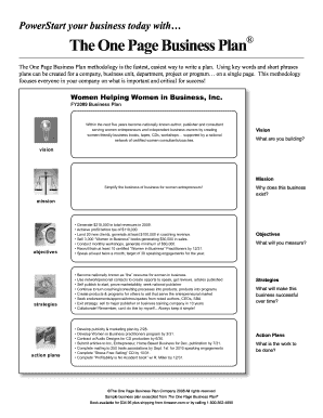 oprahcom one page business plan form