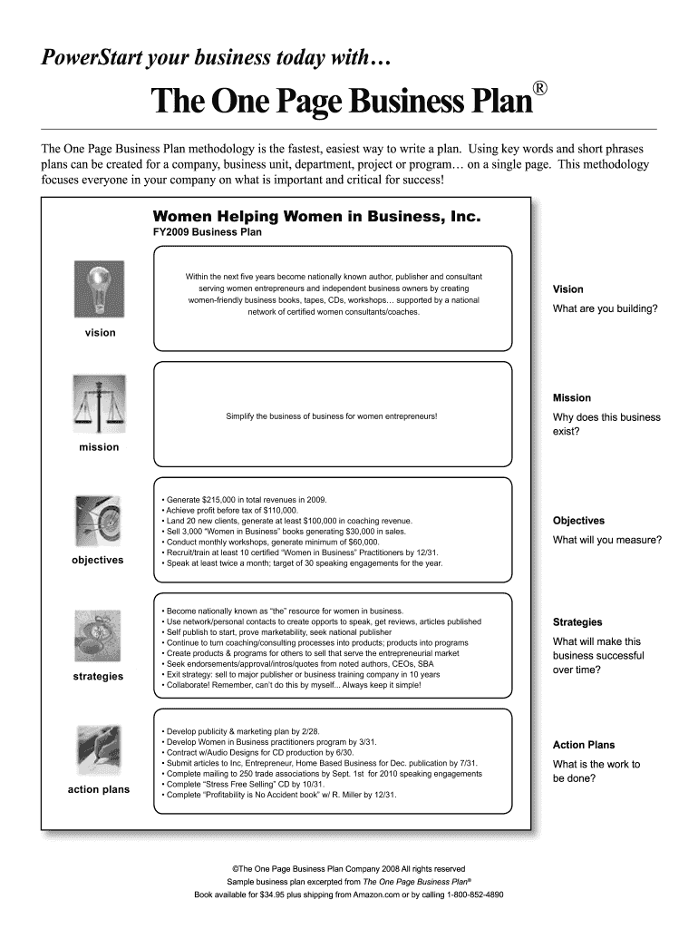 Oprahcom One Page Business Plan Fill Online Printable