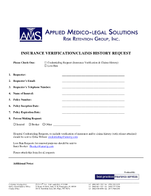 Loss Run Request - Fill Online, Printable, Fillable, Blank | PDFfiller