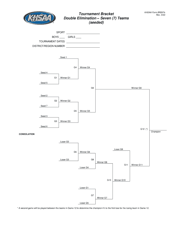 Double Elimination Bracket 7 Teams - Fill Online