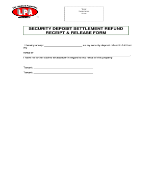 rental receipt of security deposit settlement form