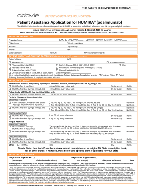 Patient assistance application for humira fillable form
