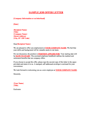 Fillable Online SAMPLE JOB OFFER LETTER Fax Email Print PDFfiller