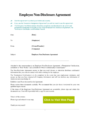 Employee Non-Disclosure. This is a sample business contract for establishing the terms for non-disclosure of confidential information regarding their employment and inventions