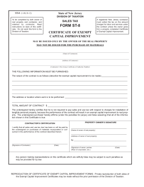 Fillable Online Form ST-124: (2/12): Certificate of Capital ...