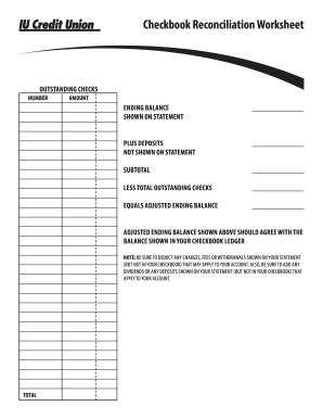 Fillable Online Checkbook Reconciliation Worksheet Fax Email Print ...