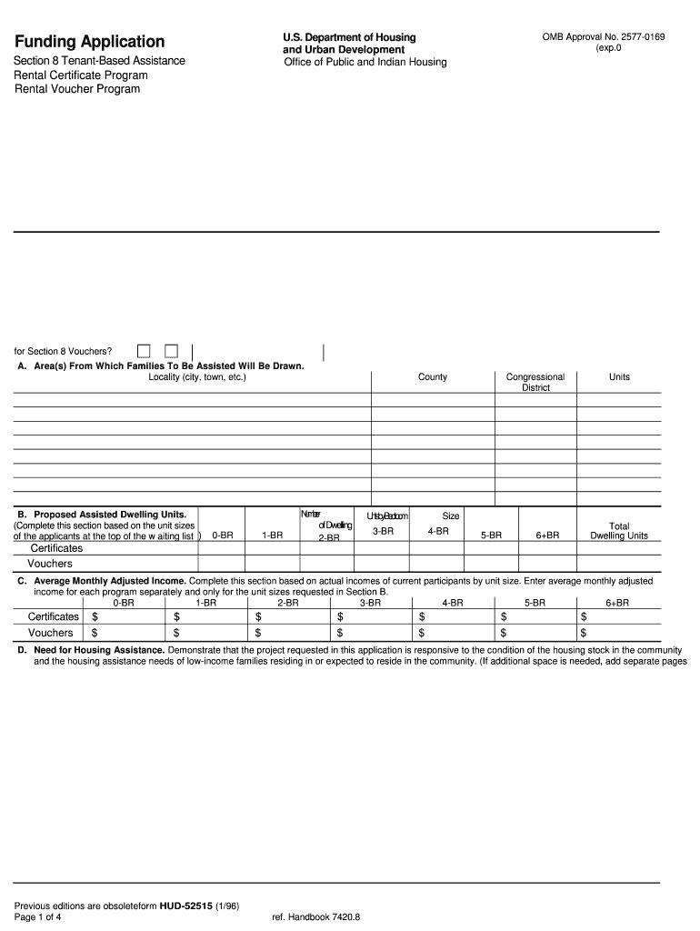 1996 Form HUD-52515 Fill Online, Printable, Fillable, Blank