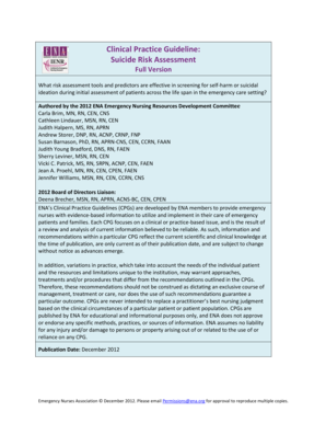 fillable online ena clinical practice guideline suicide risk rh pdffiller com Suicide Assessment Checklist Suicide Risk Assessment Checklist