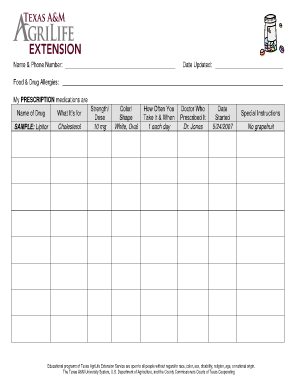 Personal Medication Chart / Record - The Texas Extension Disaster ...