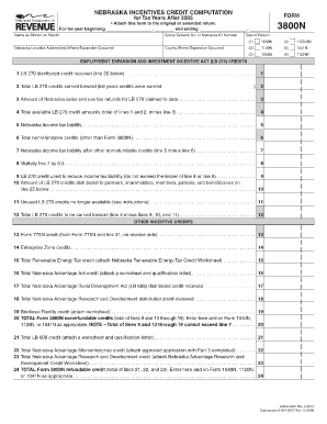 Fillable Online Form 3800N - Nebraska Department of Revenue Fax ...