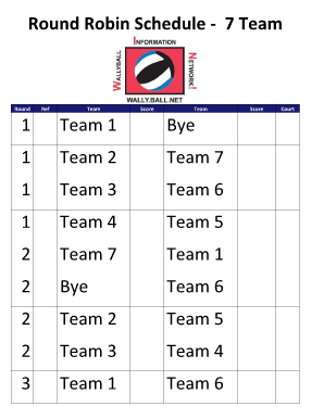 6 team draw template - round robin tourney 4 teams