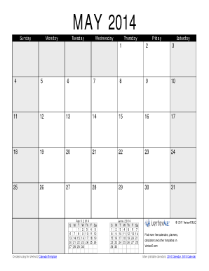 May 2014 Calendar PDF - Vertex42