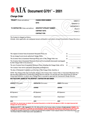 Fillable Online aia Document G701 - American Institute of ...
