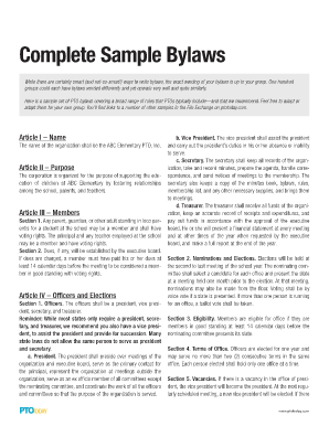Fillable Online Appendix H Sample Nonprofit Corporation Road - Non profit association bylaws template