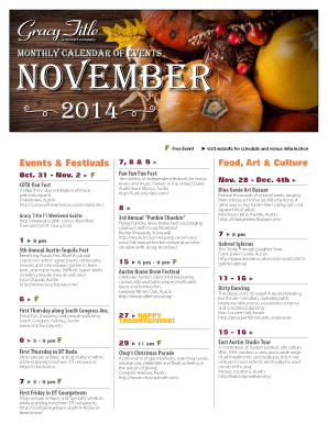 The Monthly Calendar of Events - Gracy Title