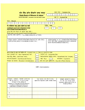 how to fill current account form of sbi