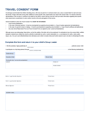 consent letter for child travelling abroad form
