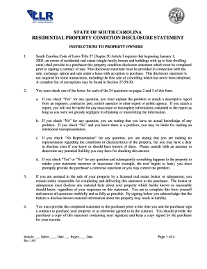 2003 Form SC Residential Property Condition Disclosure Statement ...