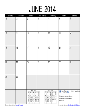 June 2014 Calendar PDF - Vertex42