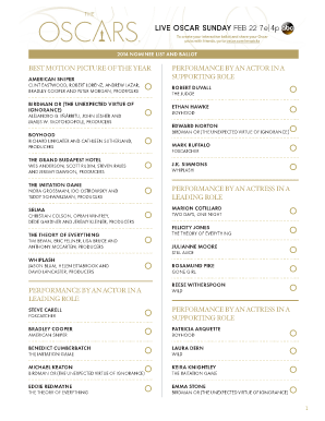 graphic relating to Golden Globe Printable Ballots referred to as Oscar Blank Ballot Paper Printables - Fill On the internet, Printable