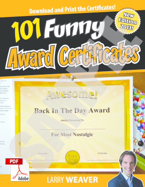 Funny Office Certificate Ideas from www.pdffiller.com