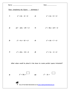 Completing the square worksheet 154b
