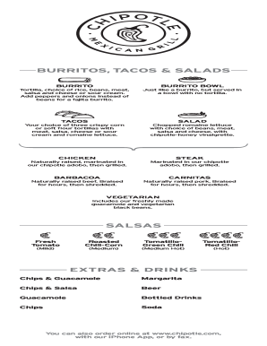Chipotle Printable Menu Fill Online Printable Fillable Blank
