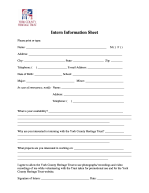 Intern Fill Out Sheet - Fill Online, Printable, Fillable, Blank ...