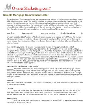 sample mortgage letter form