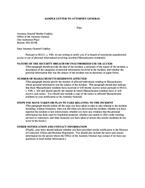 SAMPLE LETTER TO ATTORNEY GENERAL Date ... - Mass.Gov - mass